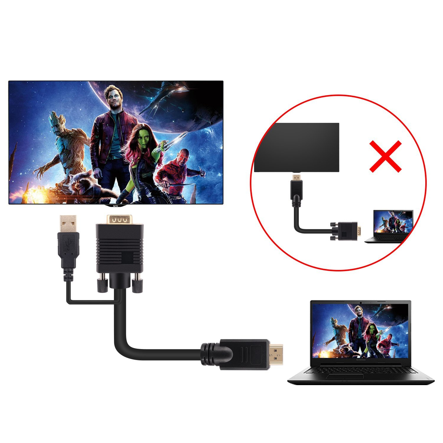HDMI TO VGA FULL 1080P WITH USB POWER SUPPLY